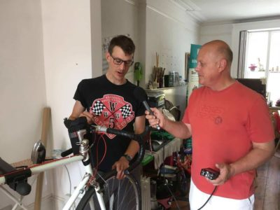 Simon Baldock speaking to Mike Polom at the Colchester Bike Kitchen